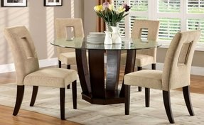 Furniture of America Valyria 5-Piece Round Dining Table Set with 10mm Tempered Glass Top, Espresso Finish