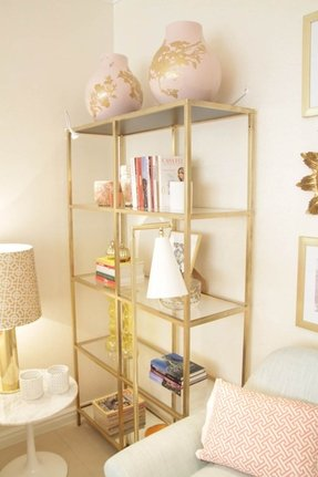 Glass shelving units living room 9