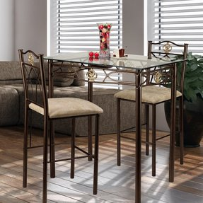 Hazelwood Home Counter Height Pub Beveled Glass Top Table, Stools are Upholstered with Foam Filling and Beige Colored Fabric for Attractive and Comfortable Seating. 3 Piece Table Set, Bronze Finish.