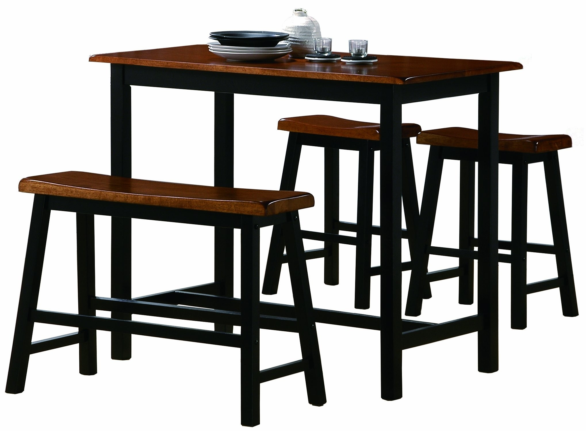 Home Life Tyler 4 Piece Counter Height Table Bench Set Dining Dinette  150244 Black U0026 Cognac