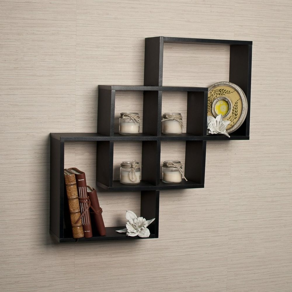 Intersecting Squares Decorative Black Wall Shelf