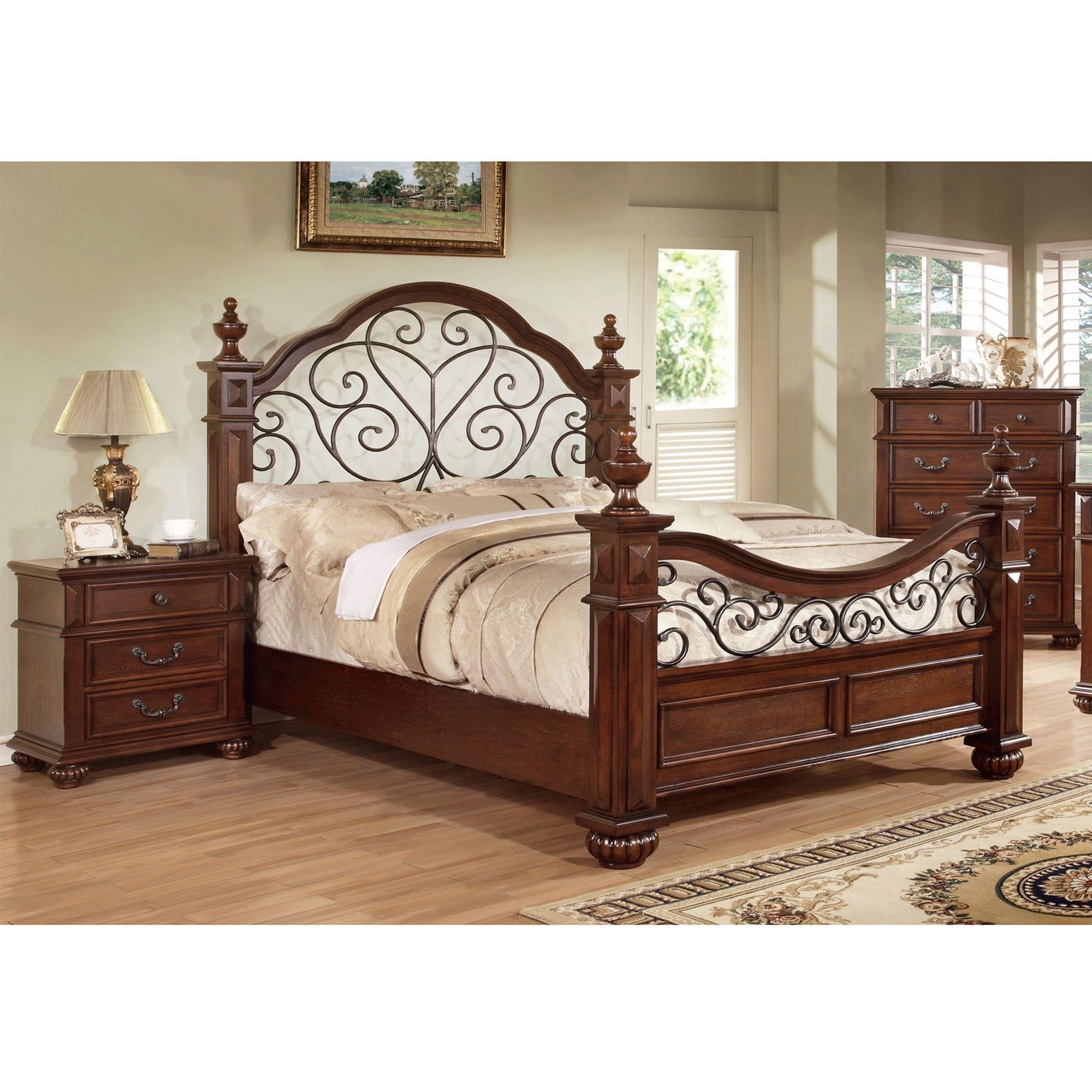 Landaluce Transitional Style Antique Dark Oak Finish Eastern King Size Bed  Frame Set
