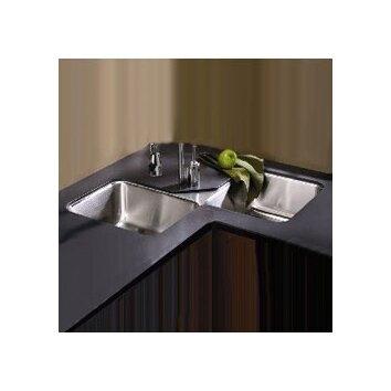Lustertone 32 X 32 Undermount Double Bowl Corner Kitchen Sink