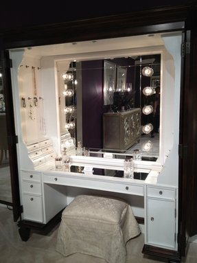 Modern vanity table with mirror and bench 1