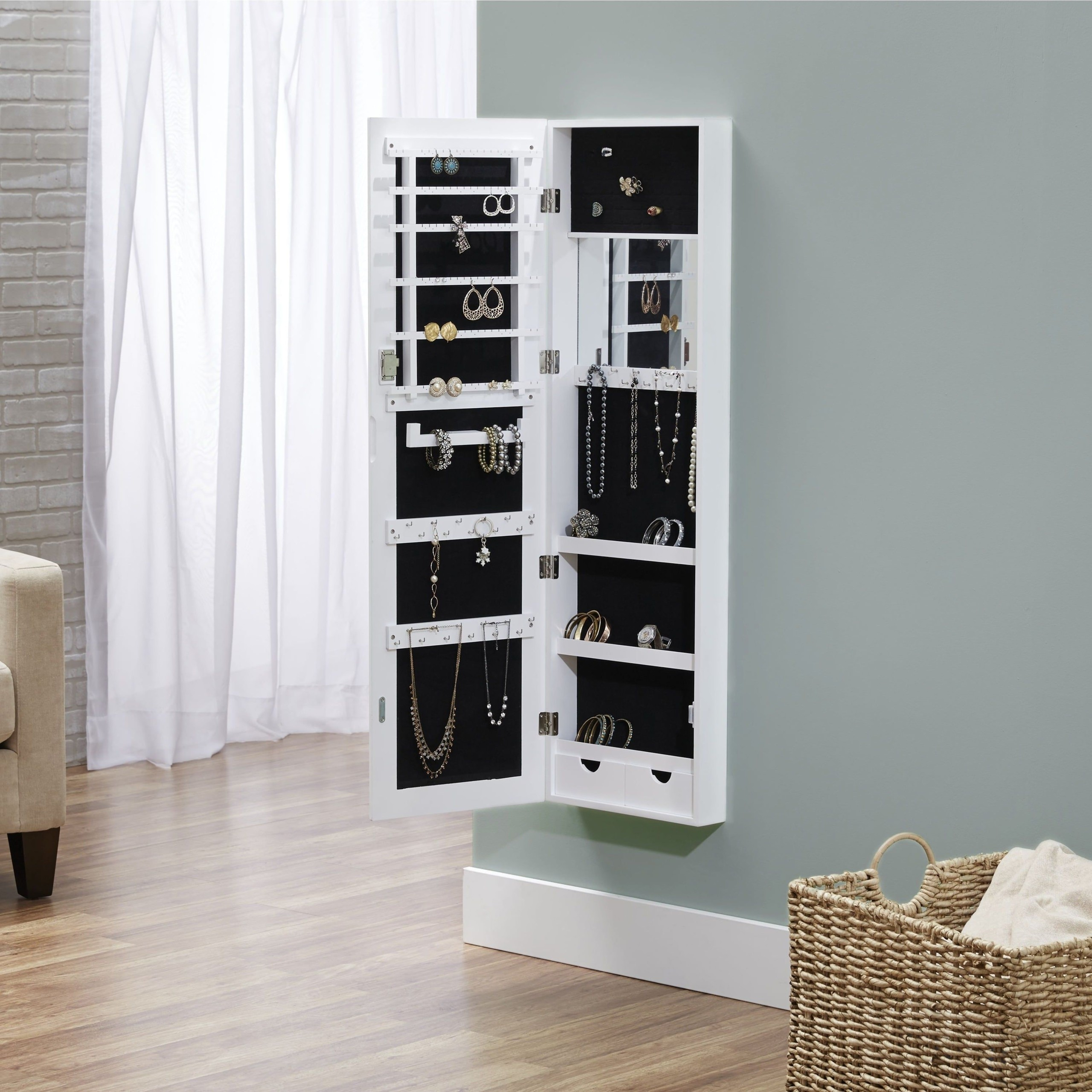 White Wall Mount Jewelry Armoire Foter