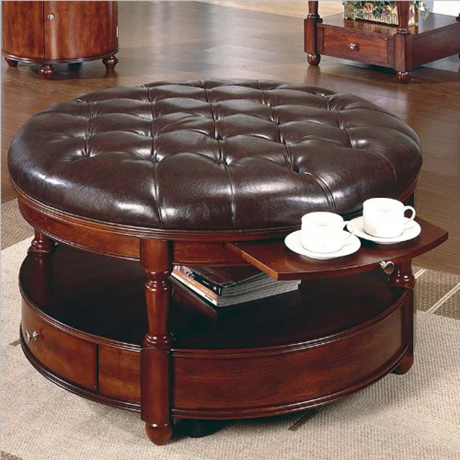 Delicieux Round Tufted Ottoman Coffee Table