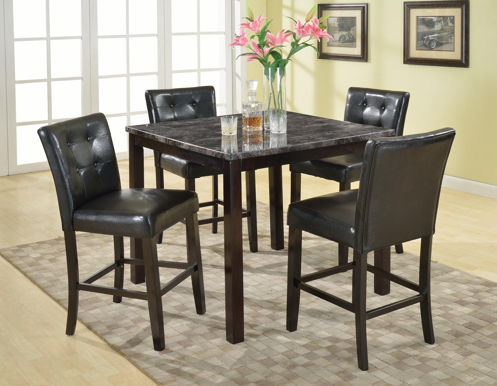 Roundhill Furniture 5-Piece Praia Artificial Dark Marble Top Pub Dining Table 4 Chairs Set & Marble Table And Chairs - Foter
