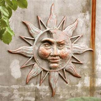 San Pacific Half Face Sun Garden Wall Plaque
