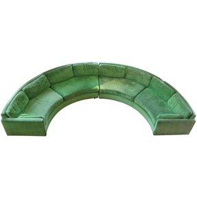 Semi circular curved sectional sofa milo baughman 1