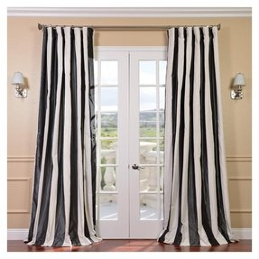 Signature stripe faux silk taffeta 120 inch curtain panel