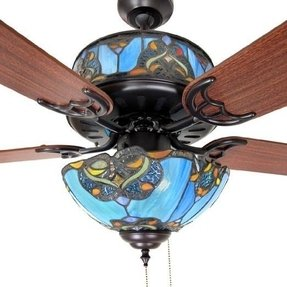Stained glass ceiling fan light shades 1