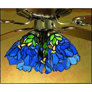 Stained glass shades for ceiling fans