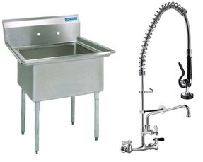 Stainless Steel (1) One Compartment Utility Prep Mop Sink 23 x 24 with Pre-Rinse Faucet