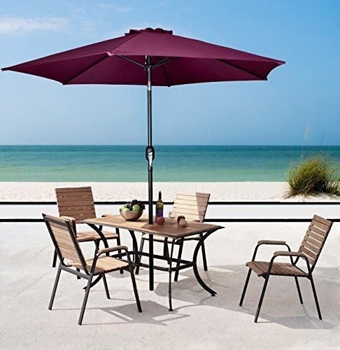 TMS® 8u0027 Aluminum Outdoor Beach Patio Umbrella Crank Tilt Sunshade Cover  Yard Burgundy