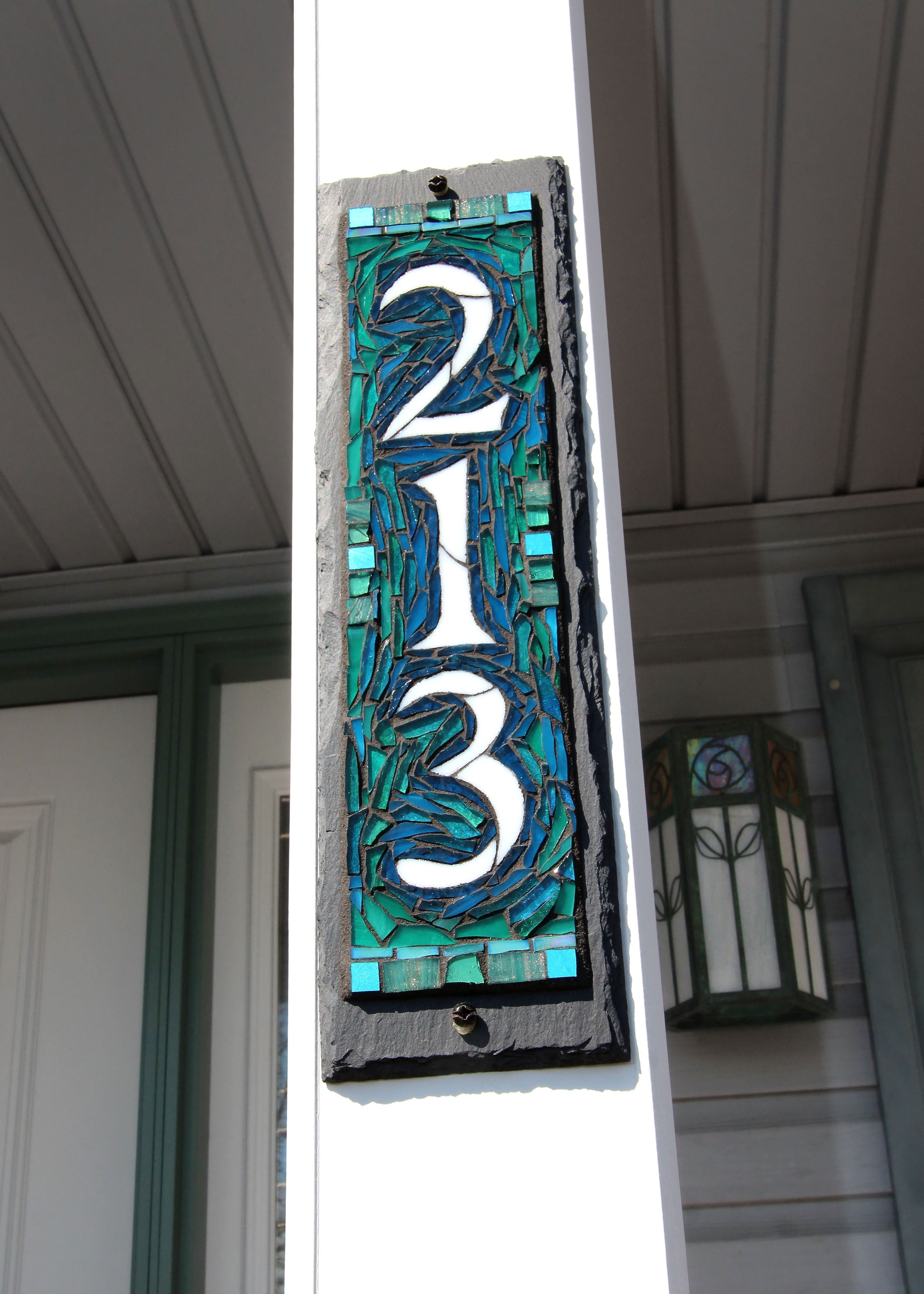 Vertical mosaic house number on slate 3
