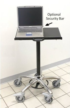 "Vision Laptop Computer Cart on Wheels includes 5"" Premium Casters, 22"" Top, 26"" Wheel Base, Foot Adjustable Height"