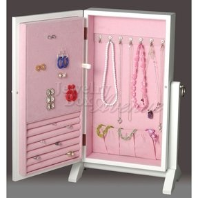 White and pink girls jewelry box wall mount armoire 3