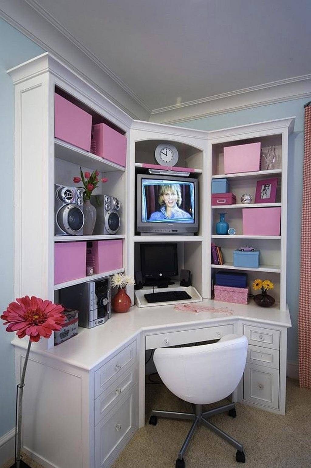 Attrayant White Corner Desk With Shelves   Ideas On Foter
