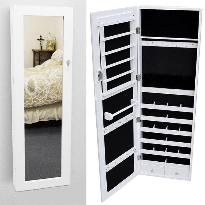 White Mirrored Jewelry Cabinet Armoire Organizer Storage Wall Mount Jewelry