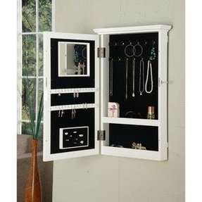 White wall mount jewelry armoire with lock 3