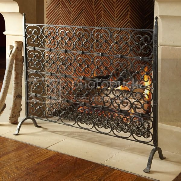 Wisteria hand forged wrought iron gothic scroll decorative fireplace screen