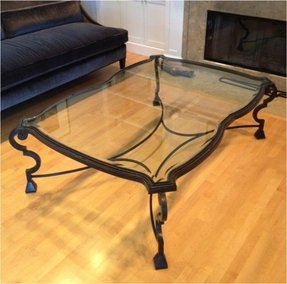 Wrought iron and glass coffee tables foter for Round glass top coffee table wrought iron