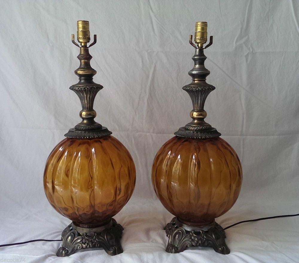 Attirant 1970s Vintage Amber Glass Table Lamps Set