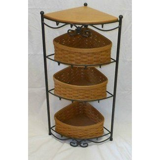 2002 longaberger wrought iron corner stand 4 tier shelf3 baskets1