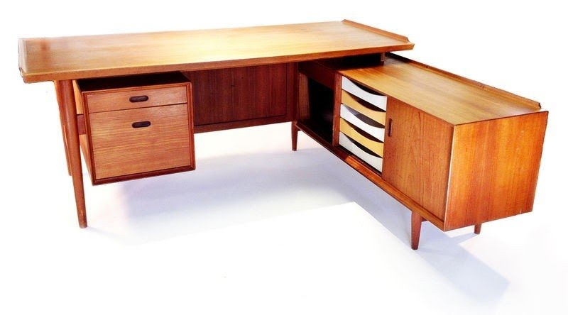 Arne vodder sibast large executive desk return danish modern