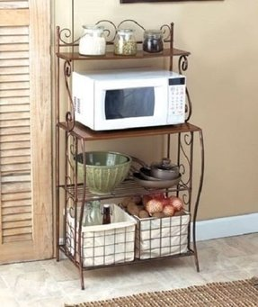Bakers Pantry Storage Rack Wood Shelves Fabric Baskets Microwave Cart Drawers