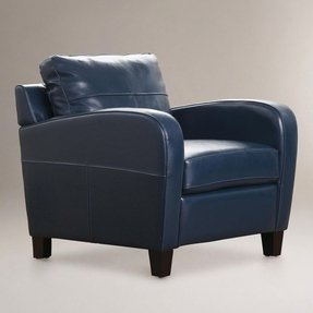 Navy Leather Recliner - Foter