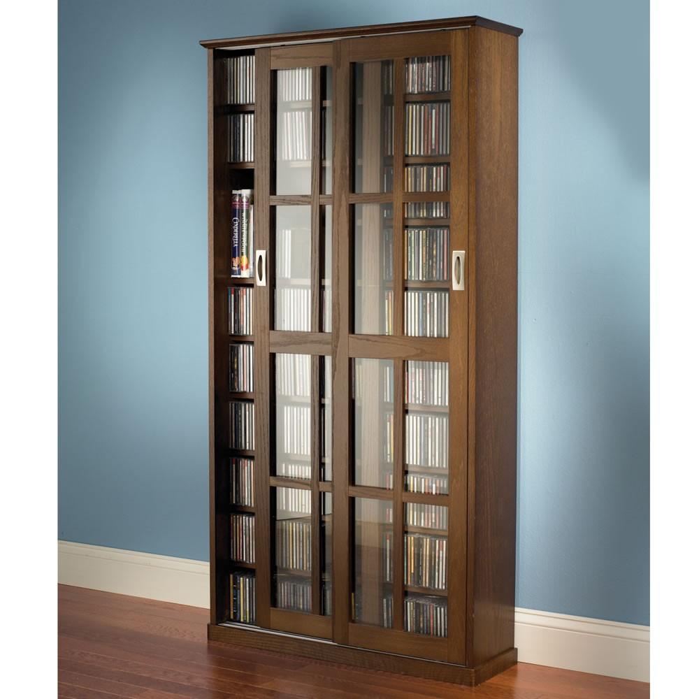 Sliding Glass Door Storage Cabinet Bookcase Media Movies Music Books 4 Shelf
