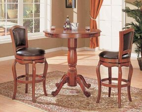 Cherry Finish Kitchen Bar Pub Table Set Wood Stools