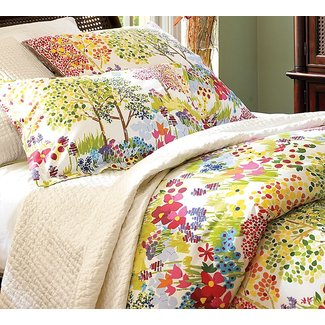 Colorful bedding for guest room with grey wall color would