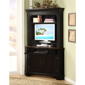 Corner entertainment center with hutch