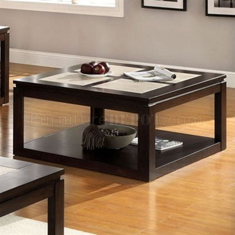 Dark Wood Square Coffee Table