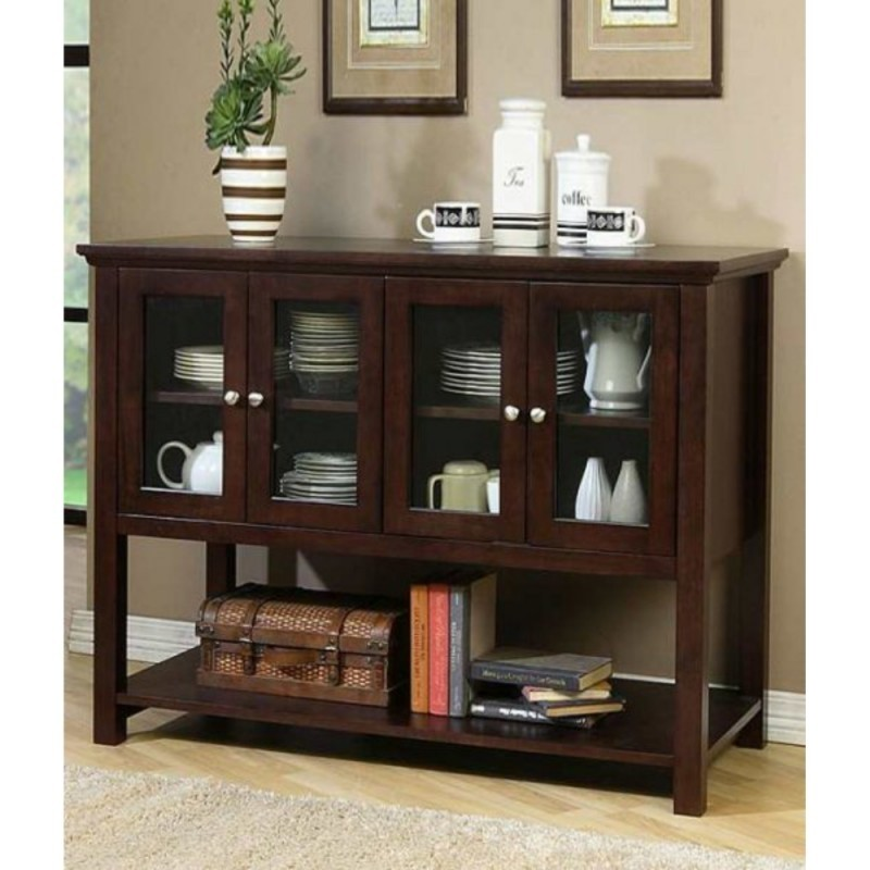 Elegant China Cabinet In A Walnut Stain Finish. This Modern Buffet Is A  Nice Addition