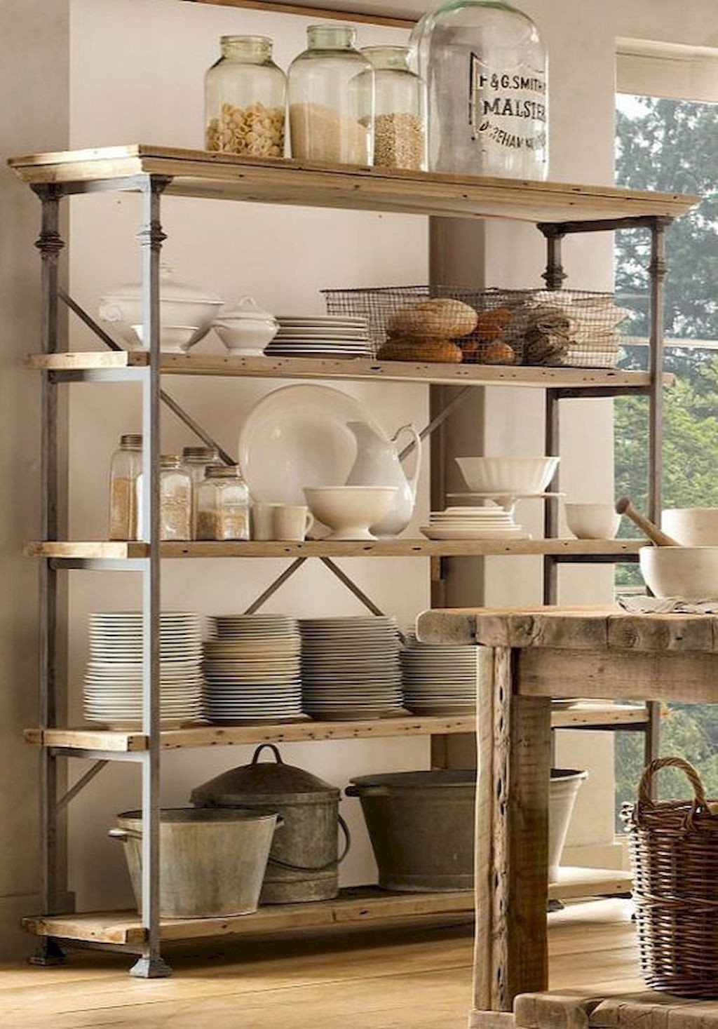Delicieux French Vintage Bakers Rack Shelving And