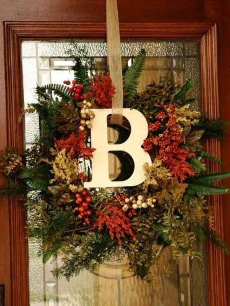 Attirant Front Door Wreaths With Initials