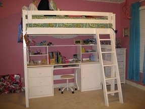 White Wood Loft Bed With Desk Foter