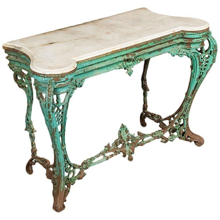 Gilt Console Table Marble Top 1