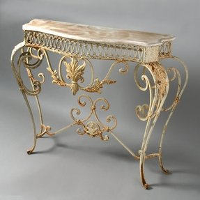 Gilt console table marble top
