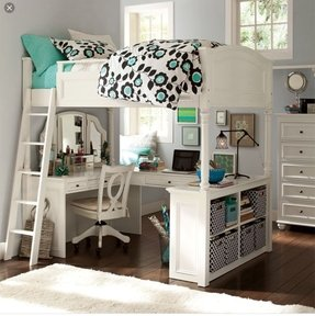 Girls White Loft Bed With Desk Ideas On Foter