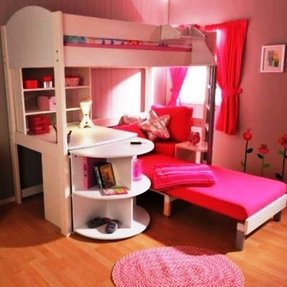 Girls White Loft Bed With Desk Foter