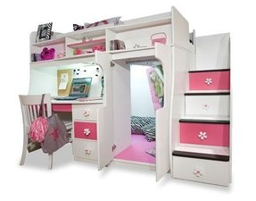 Girls white loft bed with desk 1