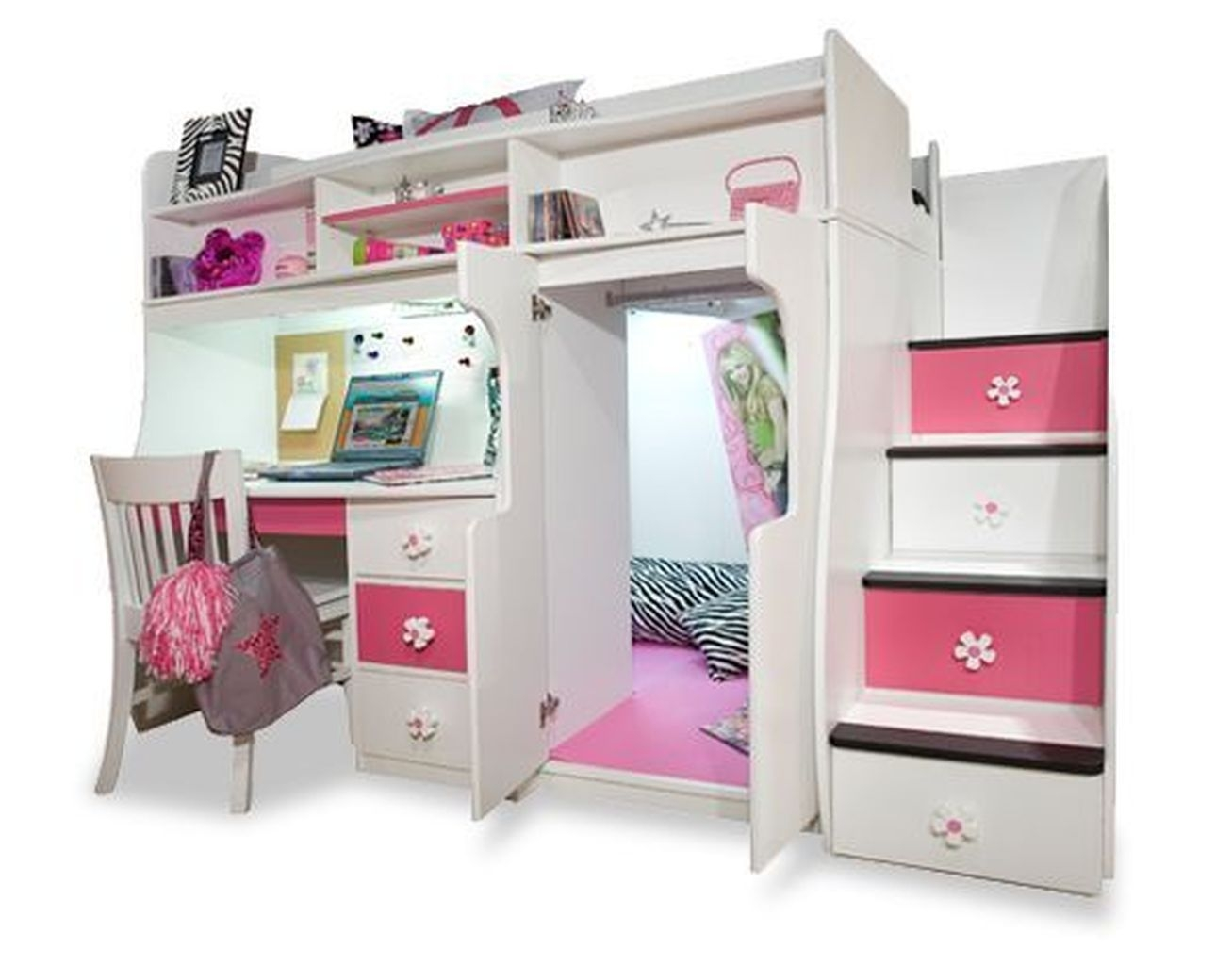 Charming Girls White Loft Bed With Desk 1