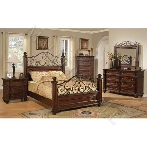 King bedroom set hand forged wrought iron solid poplar wood