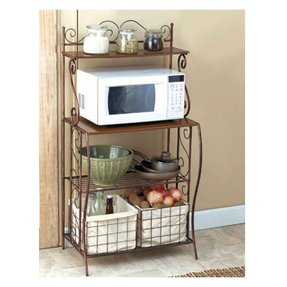 Kitchen Bakers Rack Storage With Baskets