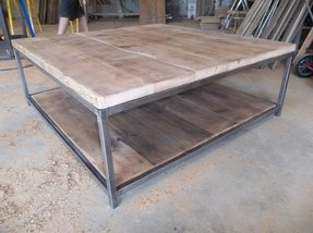 Large quare wood coffee table with