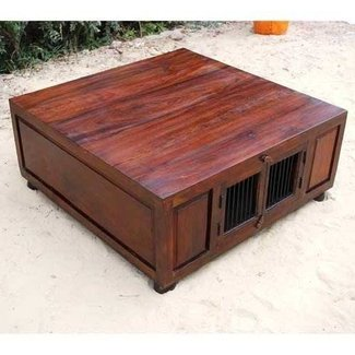 Large square coffee table with storage 2